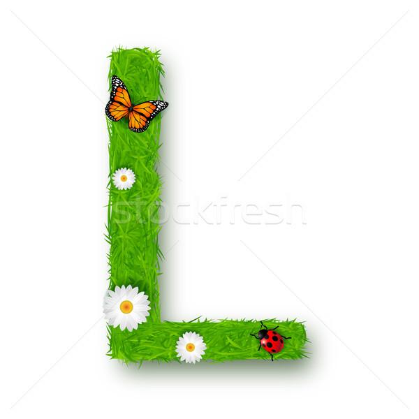 Gras letter l witte bloem textuur voorjaar Stockfoto © tigatelu