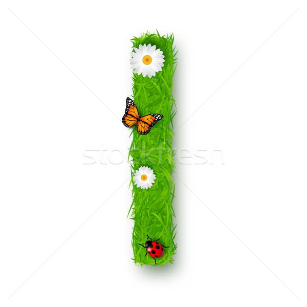 Grama letra i branco textura primavera fundo Foto stock © tigatelu