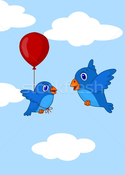 Stock photo: Baby bird learn how to fly using balloon