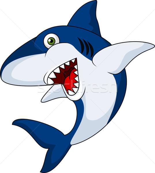 Sorridente · Tubarão · Desenho · Animado · Branco · água