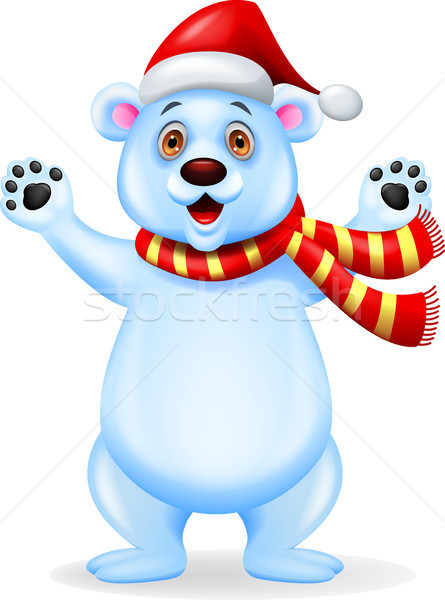 Polar bear cartoon with red hat Stock photo © tigatelu