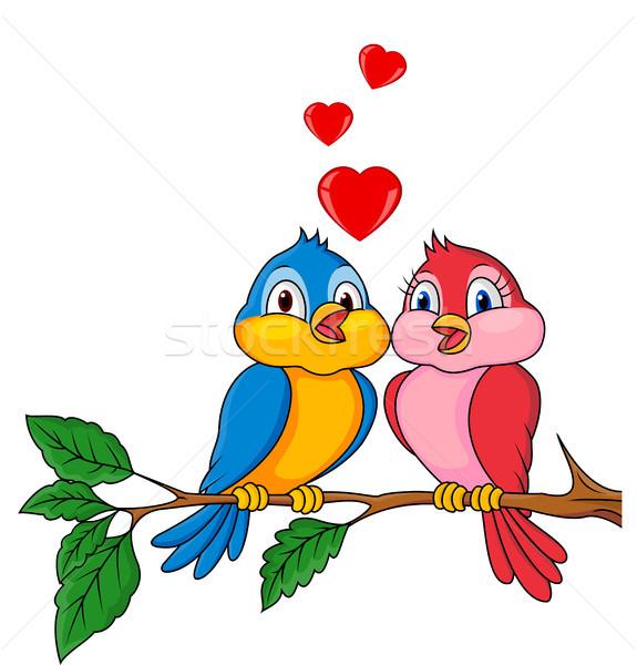 птиц Cartoon любви природы сердце дизайна Сток-фото © tigatelu