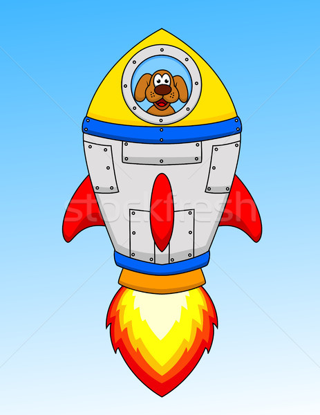 Cartoon astronaut dog in the seceship Stock photo © tigatelu
