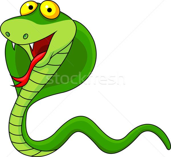 Cobra desenho animado olho verde brinquedo engraçado Foto stock © tigatelu