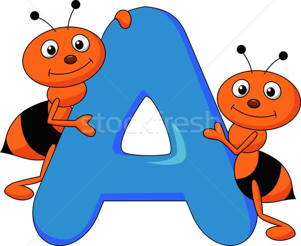 Alfabeto formiga desenho animado livro escolas estudante Foto stock © tigatelu