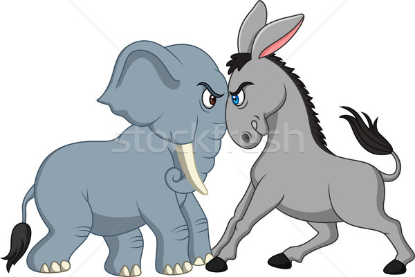 American politics - Democratic donkey versus Republican elephant Stock photo © tigatelu