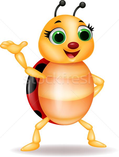 Komik uğur böceği karikatür el göz Stok fotoğraf © tigatelu