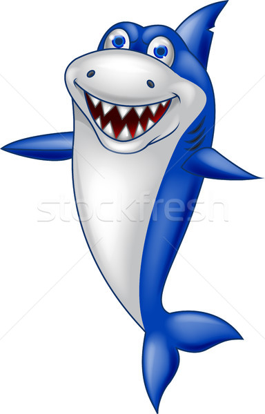 Foto stock: Sonriendo · tiburón · Cartoon · peces · naturaleza · diseno