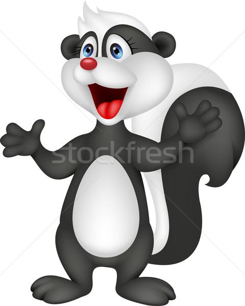 Stinkdier cartoon baby glimlach leuk zwarte Stockfoto © tigatelu