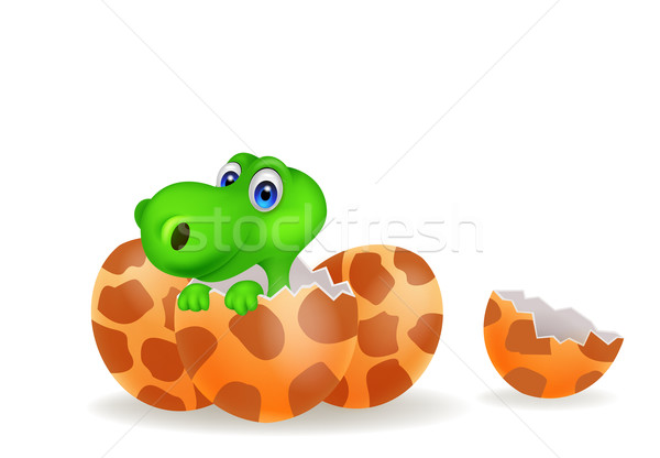 Cartoon illustration of a baby dinosaur hatching Stock photo © tigatelu