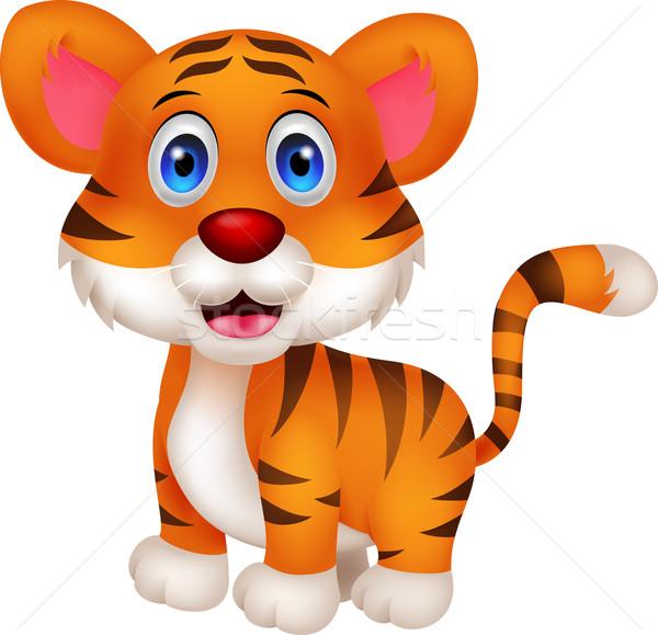 Cute baby tiger cartoon Stock photo © tigatelu