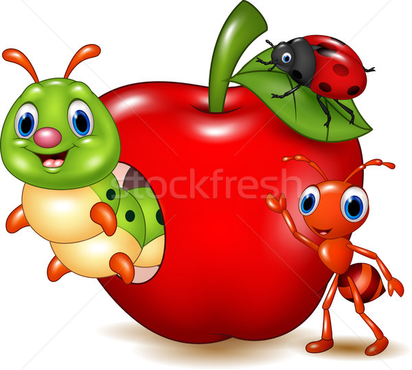 Cartoon Small Animals With Red Apple Vector Illustration C Teguh