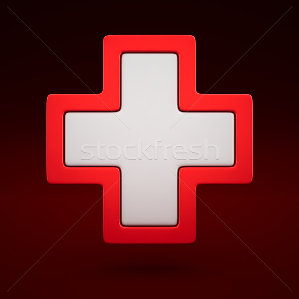 Aide première signe 3D médicaux icône Photo stock © timbrk