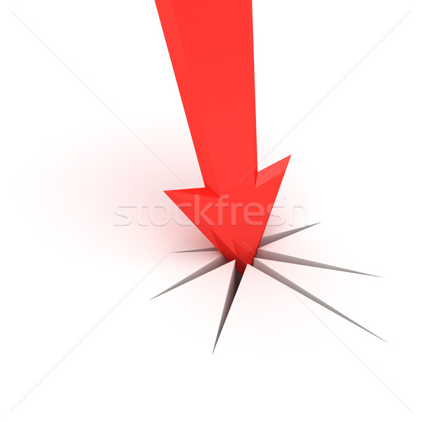 стрелка красный треснувший белый поверхность знак Сток-фото © timbrk