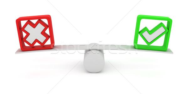 Głosowania równość zielone czerwony krzyż równoważenie Zdjęcia stock © timbrk