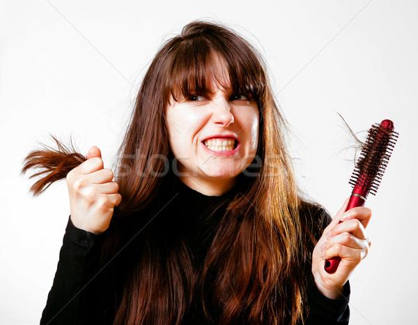 悪い 髪 日 女性 ヘアブラシ ストックフォト © timbrk