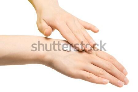 Krém nő kezek izolált fehér háttér Stock fotó © timbrk