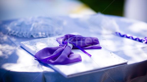 свадьба портфеля украшенный Purple лук дизайна Сток-фото © timbrk