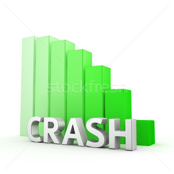 Redukcja crash ruchu w dół zielone wykres słupkowy Zdjęcia stock © timbrk