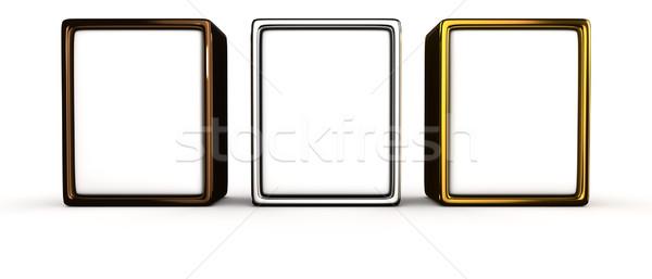 Сток-фото: три · металл · кадр · белый · пространстве · Billboard