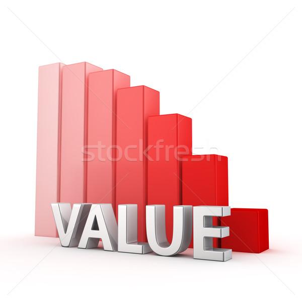 Csökkentés érték mozog lefelé piros oszlopdiagram Stock fotó © timbrk