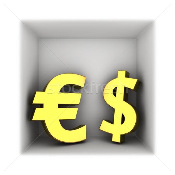 Dolar euro para semboller çerçeve imzalamak Stok fotoğraf © timbrk