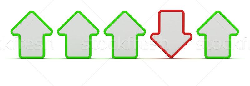 Téves irányítás egy nyíl mozog piros Stock fotó © timbrk