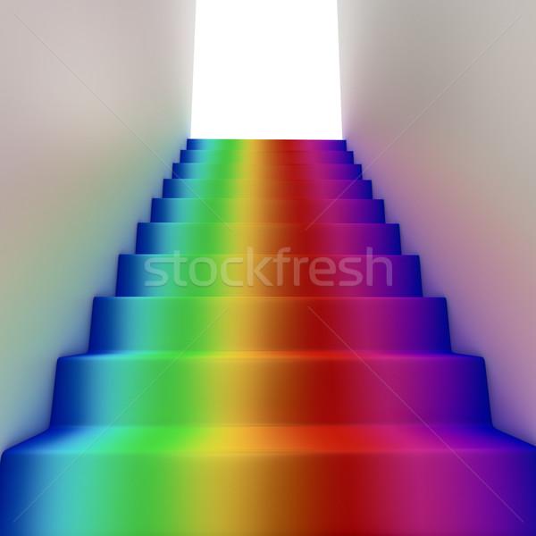 Stockfoto: Regenboog · hemel · abstract · droom · witte