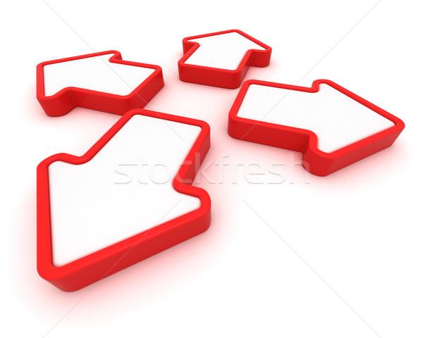 Indicazioni quattro rosso frecce diverso grafica Foto d'archivio © timbrk