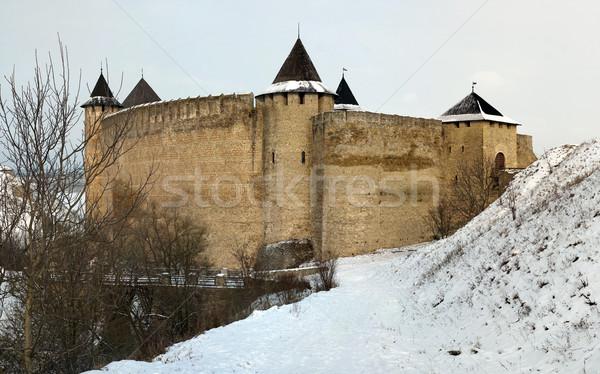 высокий стены крепость кирпичная стена Украина зима Сток-фото © timbrk