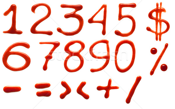 Ketchup cyfry odizolowany biały podpisania piśmie Zdjęcia stock © timbrk