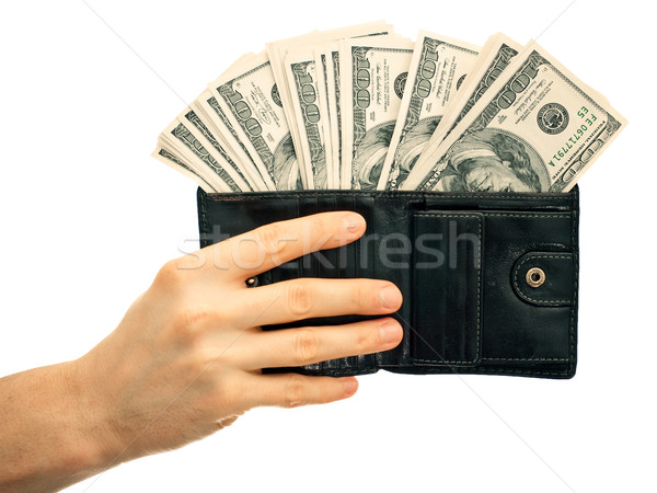 Pénztárca pénz dollár fekete bőr izolált Stock fotó © timbrk