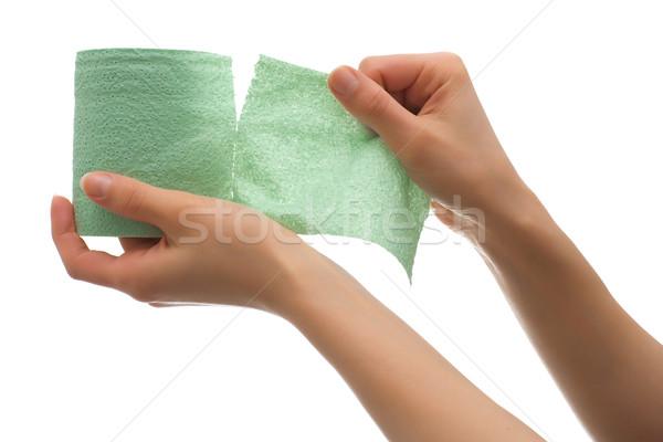 Verde carta igienica mano lacrime isolato Foto d'archivio © timbrk