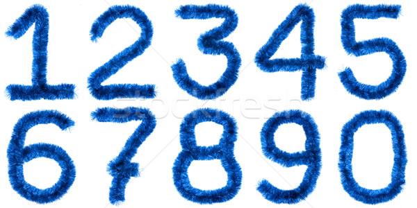 Kék számjegyek izolált fehér terv szín Stock fotó © timbrk