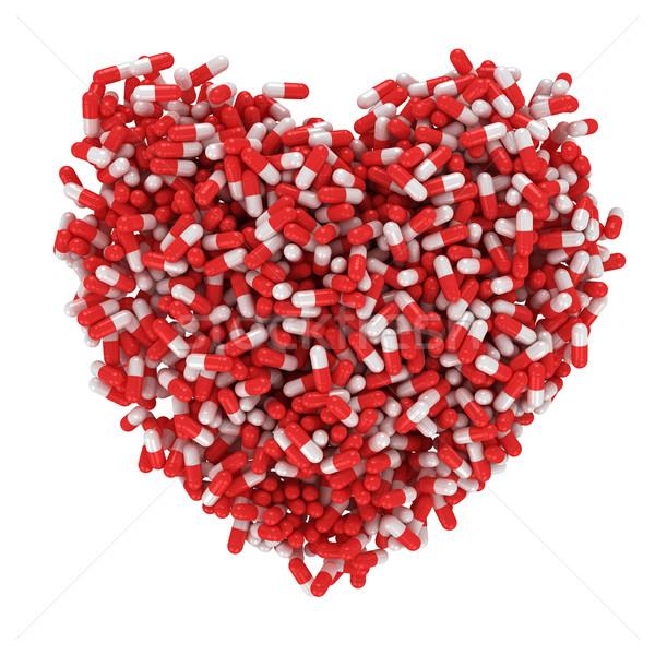 Cuore medicina grande rosso bianco capsule Foto d'archivio © timbrk