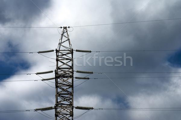 Eletricidade céu aço arame perigo linha Foto stock © timbrk