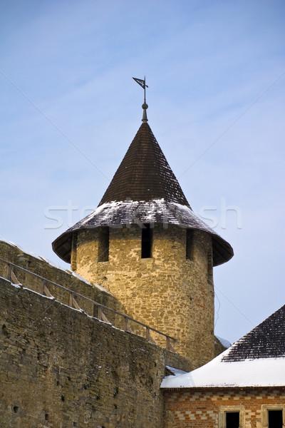 замок башни Украина зима каменные кирпичных Сток-фото © timbrk