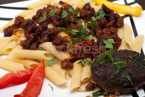 cutlet and pasta Stock photo © timbrk