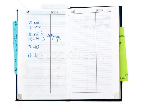 Horário caderno isolado branco papel carta Foto stock © timbrk