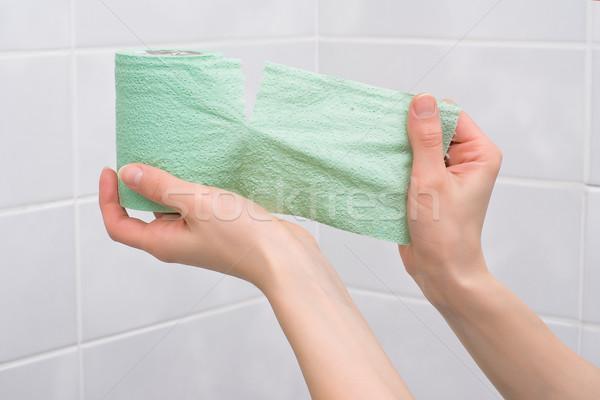 Stock fotó: Vécépapír · kéz · könnyek · el · zöld · csempézett