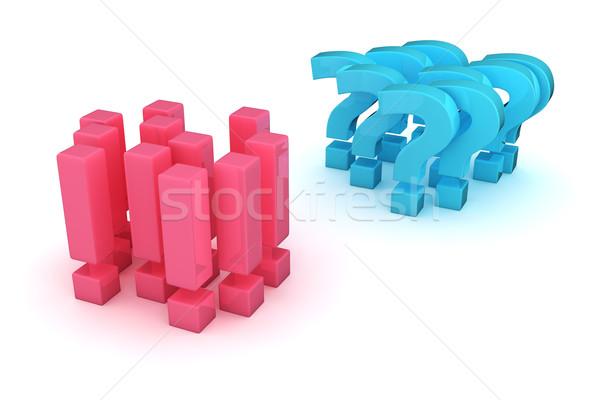 Antwoorden vragen twee groepen vraagtekens oppositie Stockfoto © timbrk