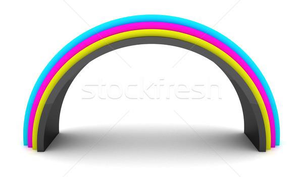 радуга 3D изолированный белый краской черный Сток-фото © timbrk