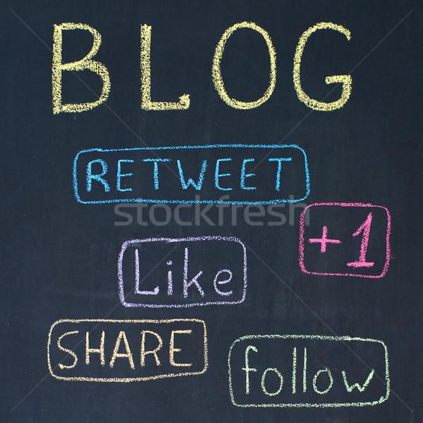 Blog knoppen krijttekening school onderwijs Blackboard Stockfoto © timbrk