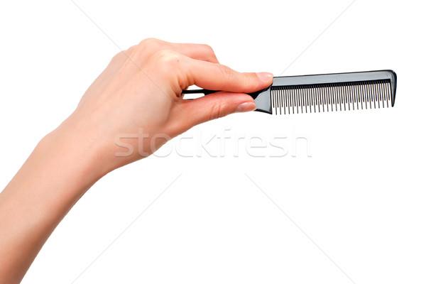 Peine mano profesional aislado blanco pelo Foto stock © timbrk