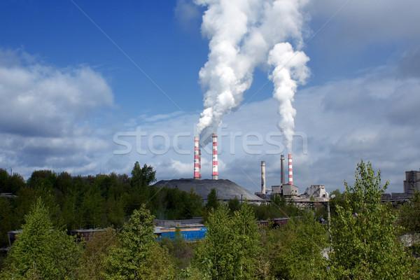 Ar céu paisagem fumar azul indústria Foto stock © timbrk