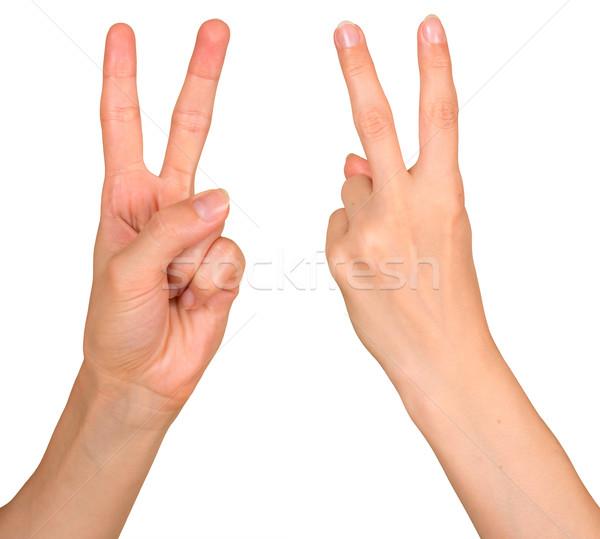 Zwycięstwo gest odizolowany biały strony tle Zdjęcia stock © timbrk