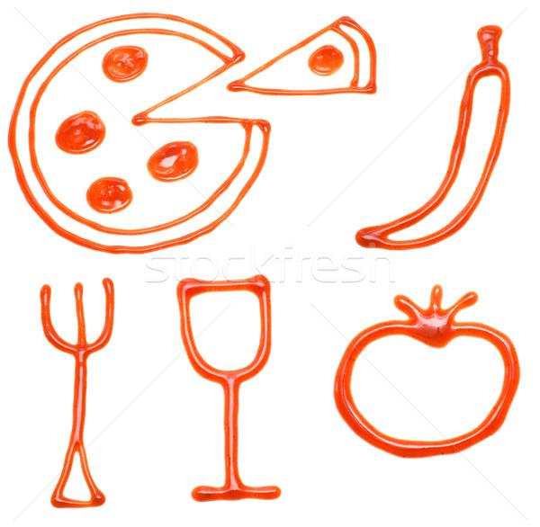 Ketchup Essen Symbole isoliert weiß Hintergrund Stock foto © timbrk