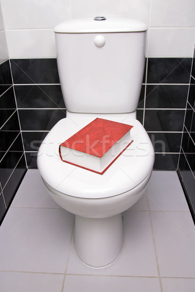 туалет литература красный книга ванную плитка Сток-фото © timbrk