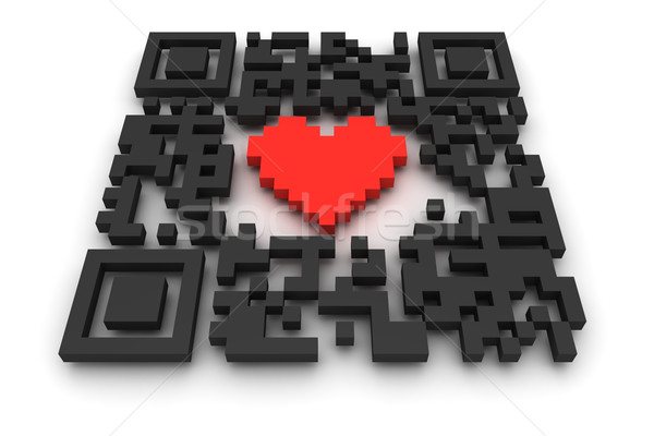 QR-code with heart Stock photo © timbrk