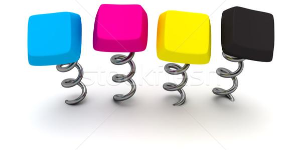 Tuşları dört bilgisayar renkler model teknoloji Stok fotoğraf © timbrk